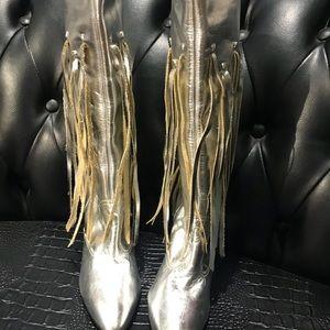 Silver Fringe Boots